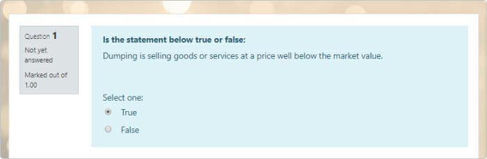 Une question publiée True / False dans Moodle