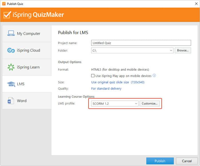 iSpring Quizmaker vous permet de publier des tests pour un LMS tel que Moodle.