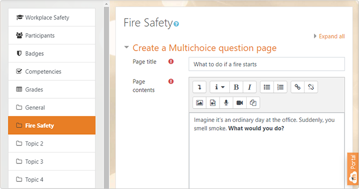 Moodle content page settings