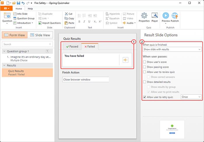 Configurer les options de la diapositive de résultats