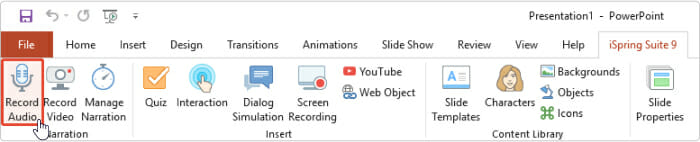 Record Audio on the iSpring Suite tab