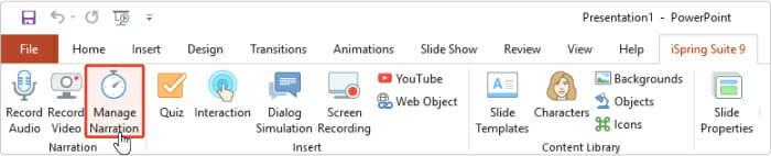 Manage narration feature in iSpring Suite