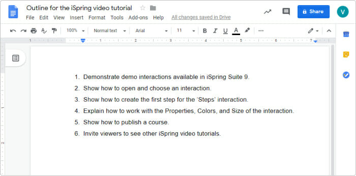 Outline for a video tutorial