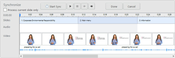 Lining up video and audio tracks in iSpring Suite timeline