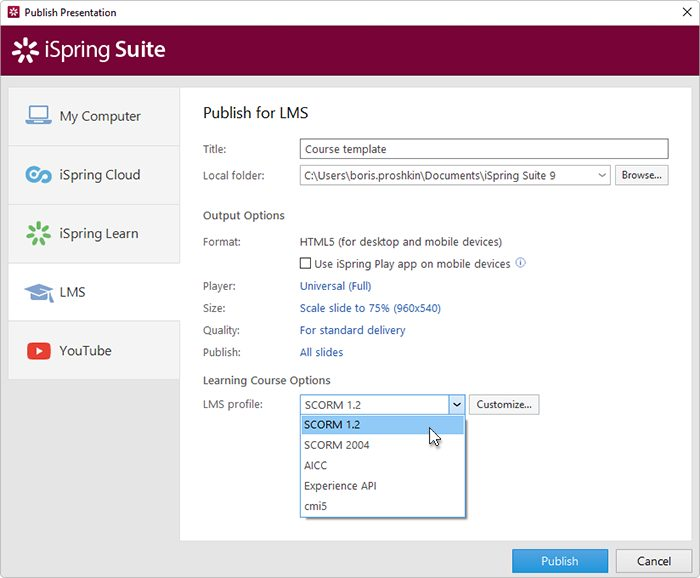 iSpring Suite publishing options