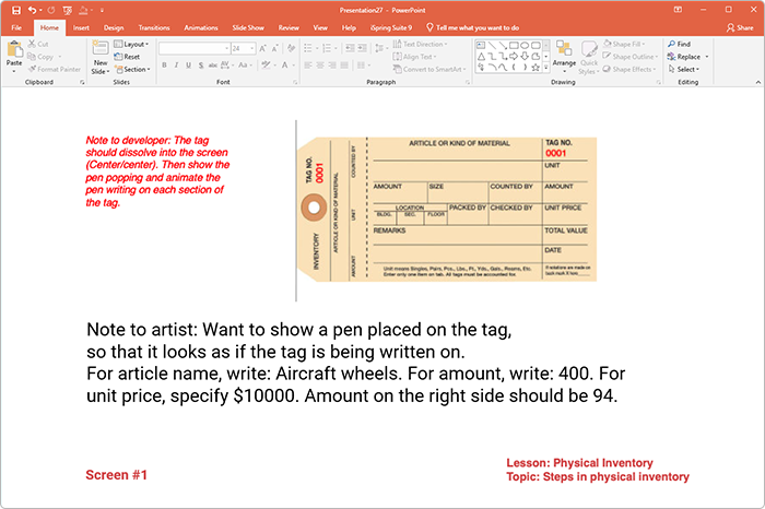 PowerPoint eLearning storyboard example