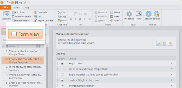 The Form View in iSpring QuizMaker