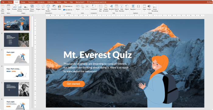 Creating the front page of the quiz in PowerPoint