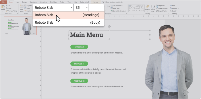 A markup for headings in PowerPoint