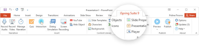 The iSpring Suite tab in PowerPoint