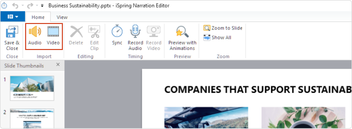 The Audio and Video buttons on the editor's toolbar