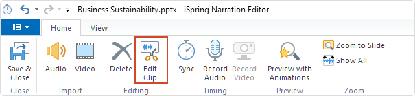 The Edit Clip button on the Video Editor's toolbar