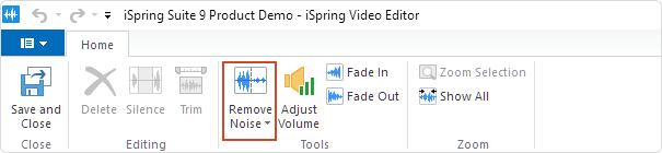 The Remove Noise button on the Video Editor's toolbar