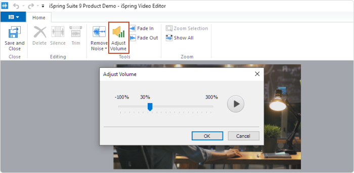 The Adjust Volume button on the Video Editor's toolbar