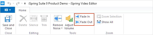 The Fade In and Fade Out buttons on the Video Editor's toolbar