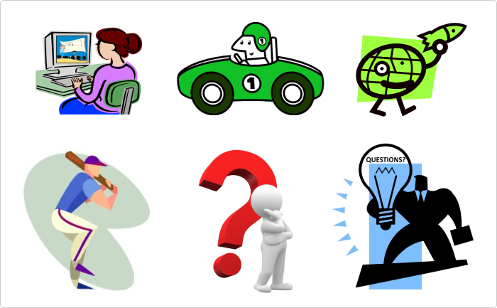 The collection of outdated clip art images