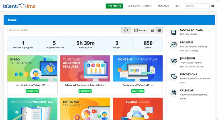 TalentLMS learning portal interface