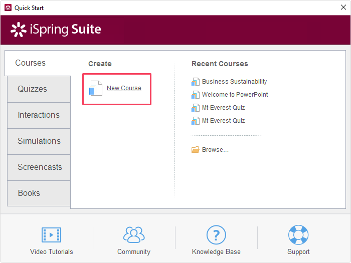 Creating xAPI course in iSpring Suite