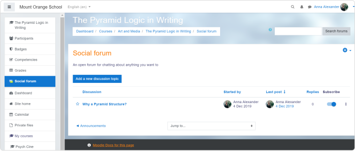 Social format in Moodle example