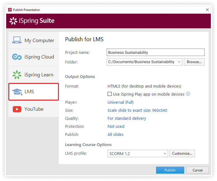 Customize output settings for your SCORM file.