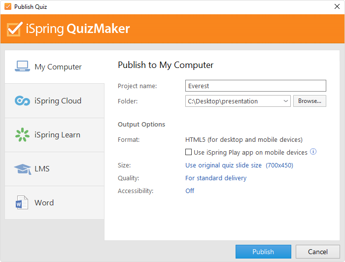 Publishing in iSpring QuizMaker