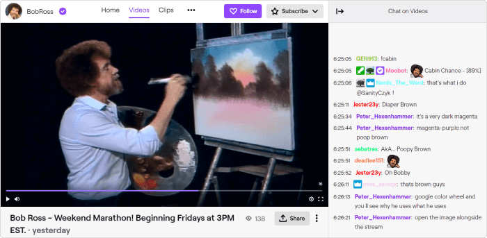 An artist is streaming his work process