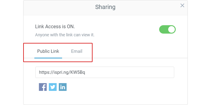 Sharing a link in iSpring Suite