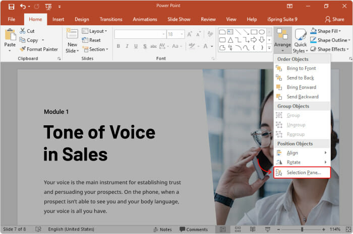 How to open a Selection Pane in PowerPoint