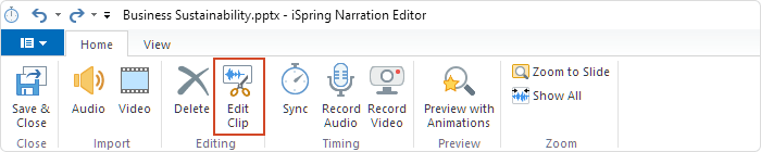 Editing clip in iSpring Suite
