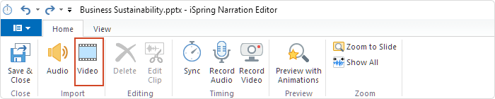 Adding a video in iSpring Suite