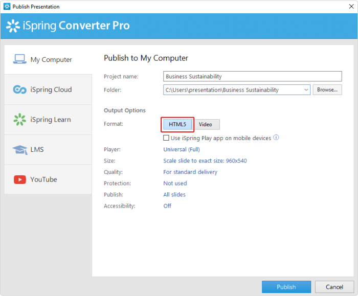 The Publish Presentation window of iSpring Converter Pro 9