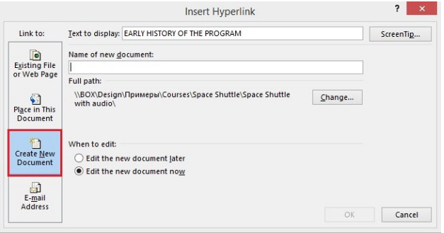 Create New Document in the Insert Link window