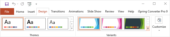 The Design tab on the PowerPoint toolbar