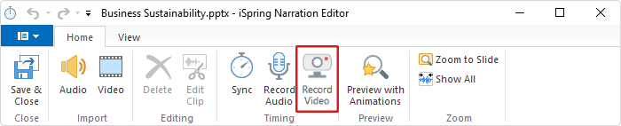 Record Video button in iSpring Suite