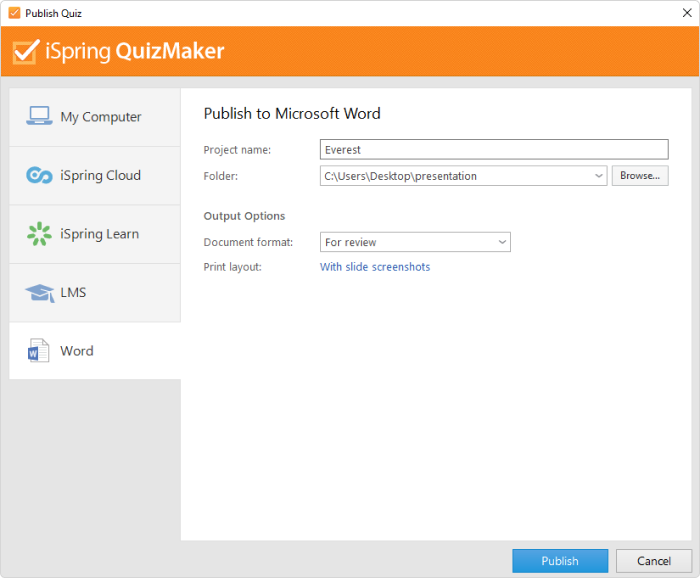 Publishing a quiz to Word in iSpring QuizMaker