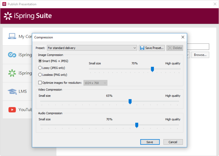 Adjusting image and video quality in iSpring Suite