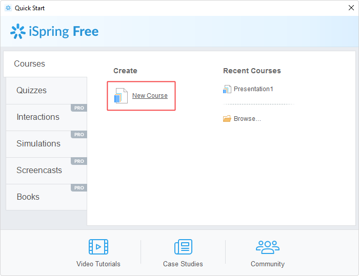 Creating a new course in iSpring Free