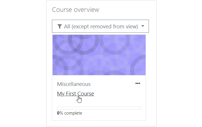Course overview in Moodle LMS