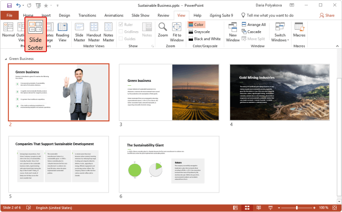 Slide Sorter in PowerPoint