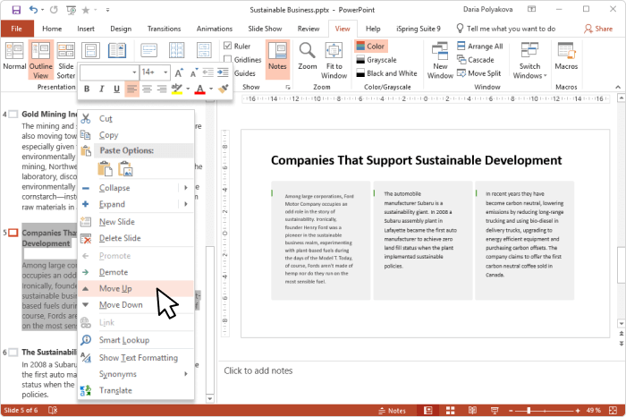 Promote and Demote options in PowerPoint