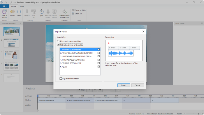 Import video window in iSpring Suite