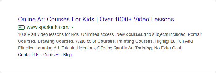 Google ads promoting online courses