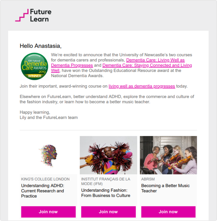 An example of e promotional email