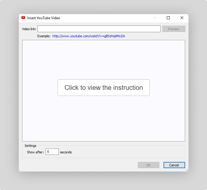 Inserting a YouTube video