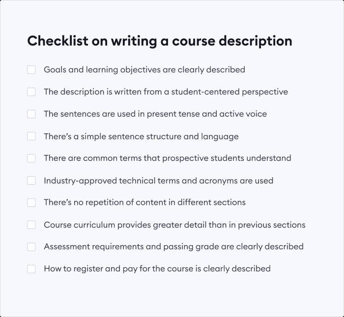 Checklist on writing an online course description