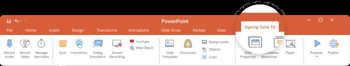 iSpring Suite tab in PowerPoint