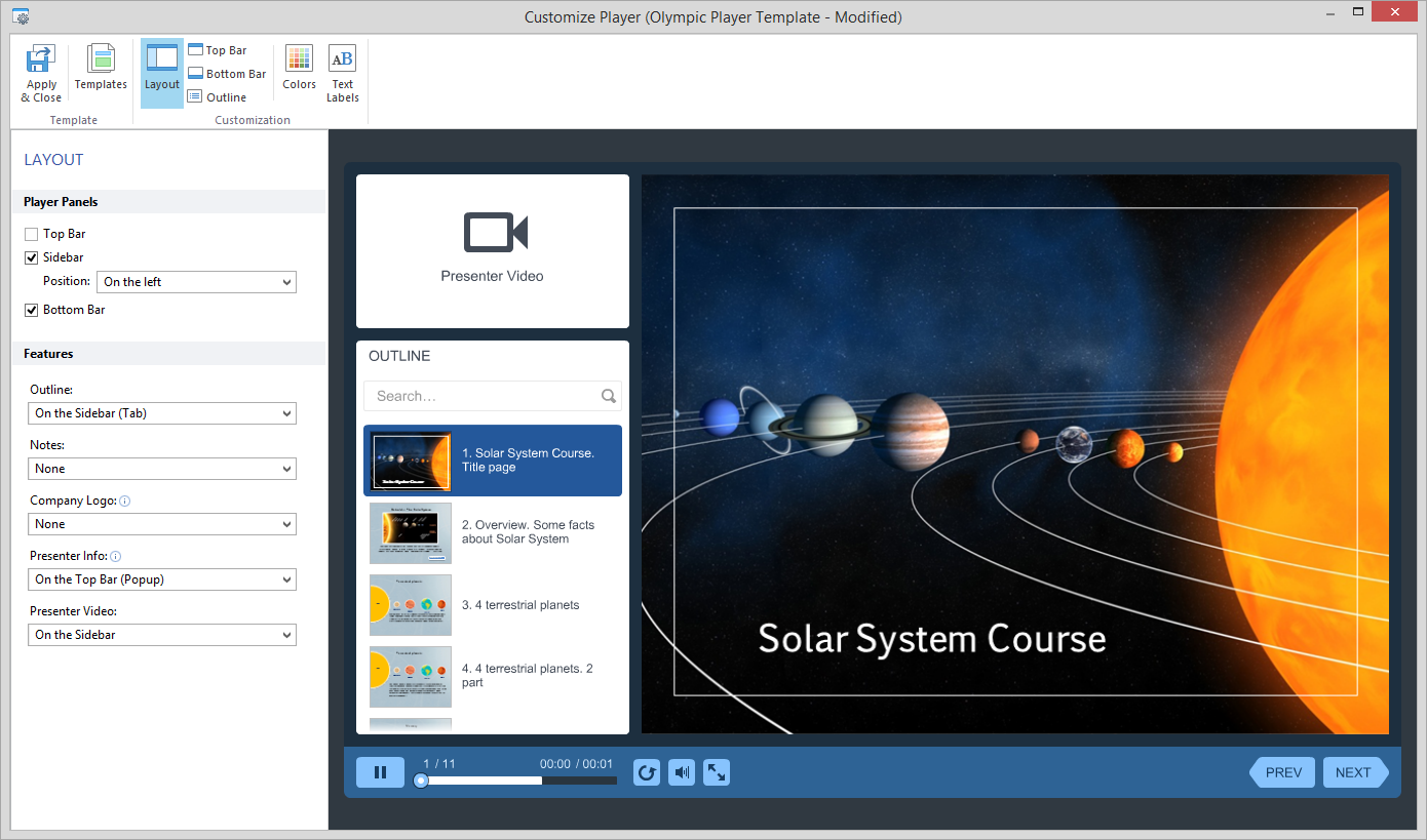 Customizing the Player Layout - iSpring Presenter 8