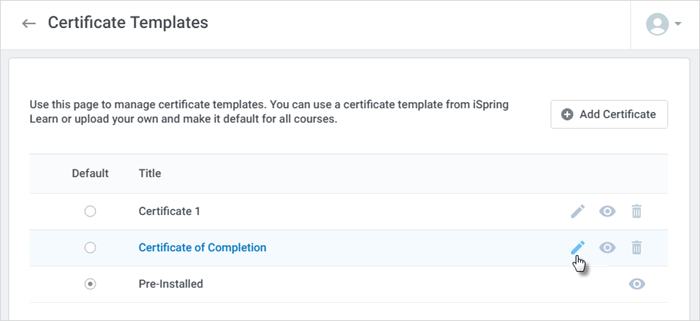Certificate templates ispring learn ispring help docs mouse over the certificate title and click the edit icon yelopaper Gallery