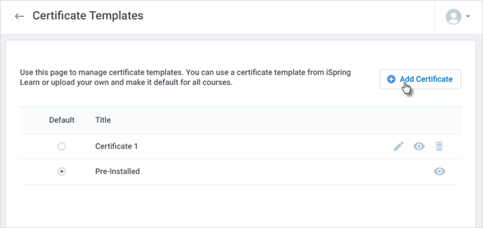 Certificate templates ispring learn ispring help docs click add certificate yadclub Gallery