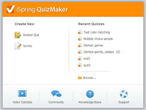 QuizMaker quick launch dialog